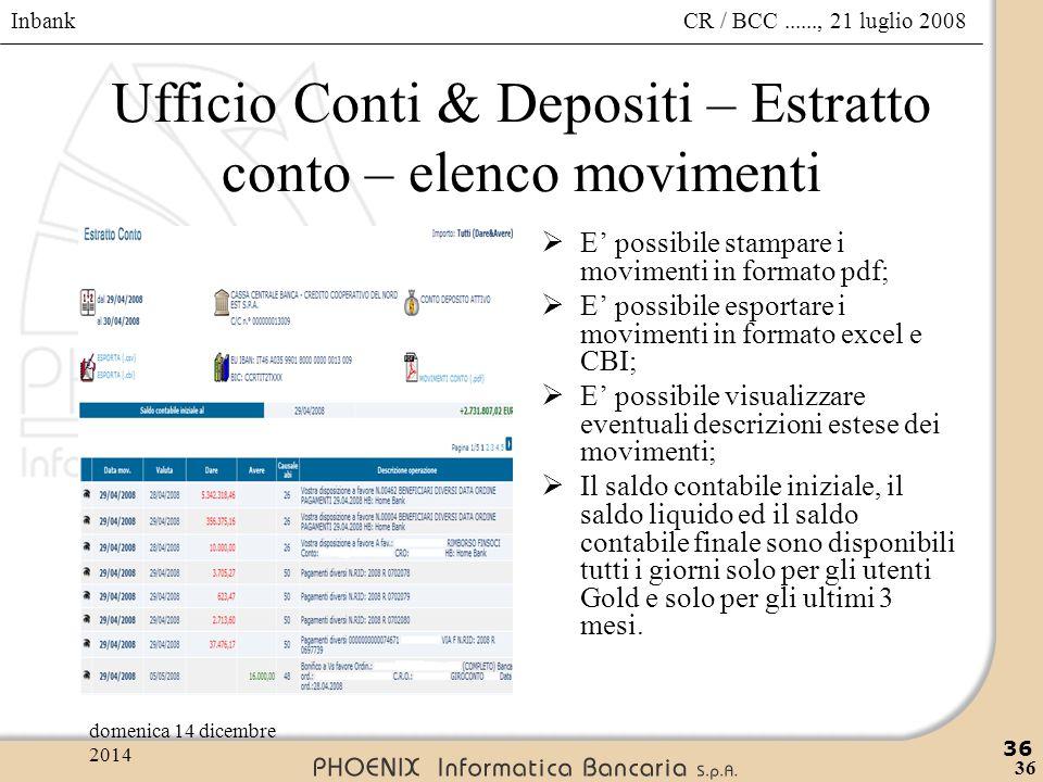 Ufficio Conti & Depositi – Estratto conto – elenco movimenti