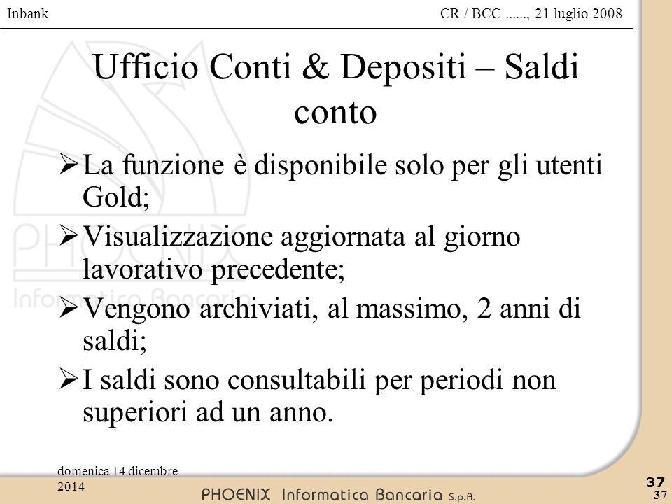 Ufficio Conti & Depositi – Saldi conto