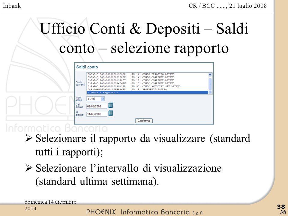 Ufficio Conti & Depositi – Saldi conto – selezione rapporto