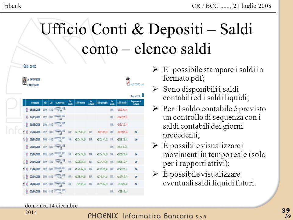 Ufficio Conti & Depositi – Saldi conto – elenco saldi