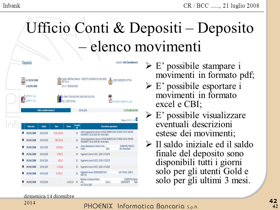 Ufficio Conti & Depositi – Deposito – elenco movimenti