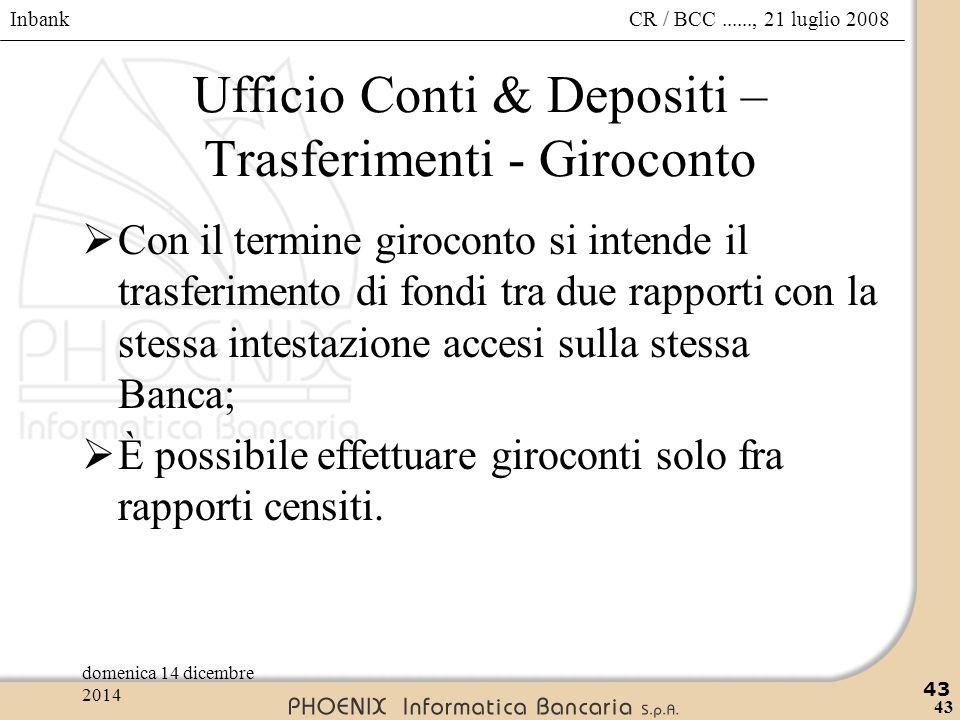 Ufficio Conti & Depositi – Trasferimenti - Giroconto