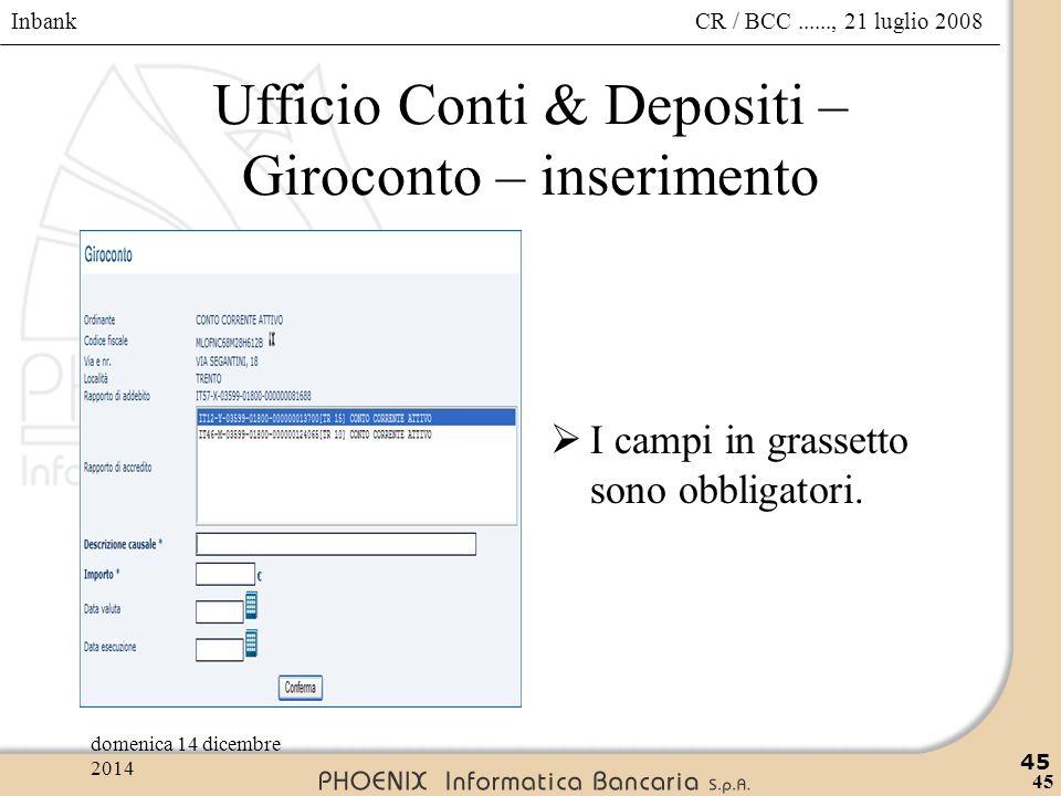Ufficio Conti & Depositi – Giroconto – inserimento