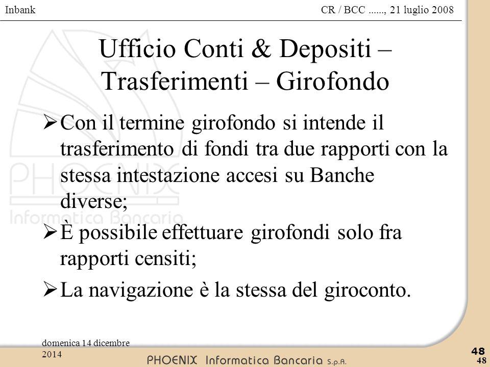 Ufficio Conti & Depositi – Trasferimenti – Girofondo