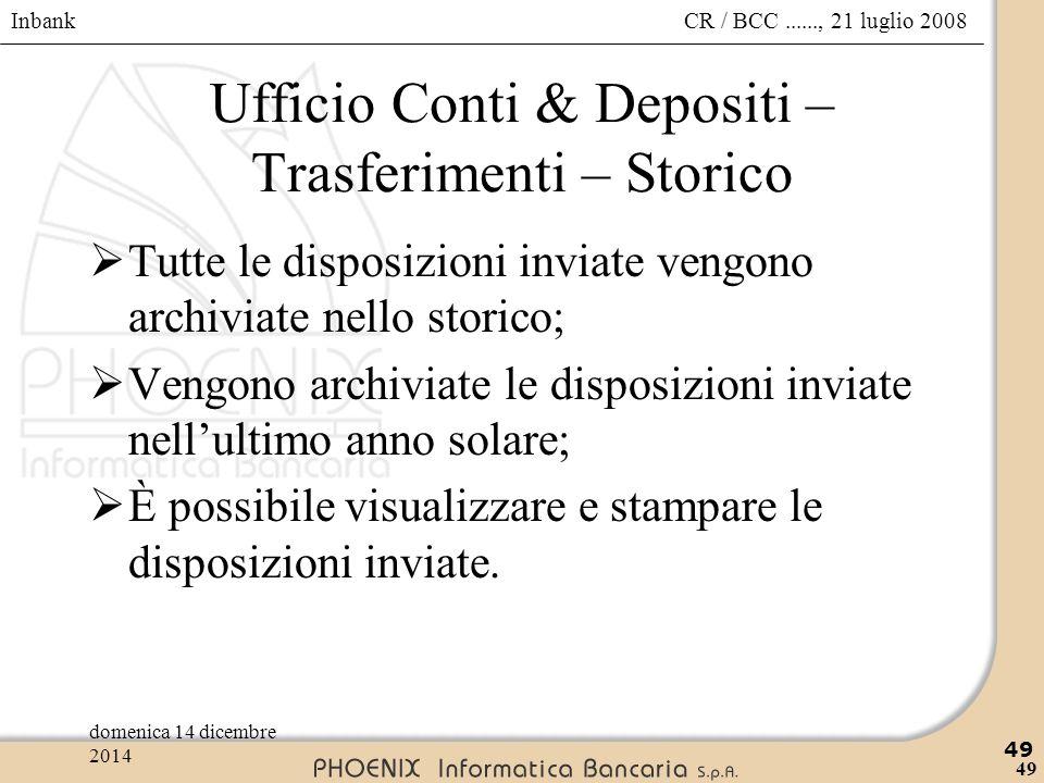 Ufficio Conti & Depositi – Trasferimenti – Storico