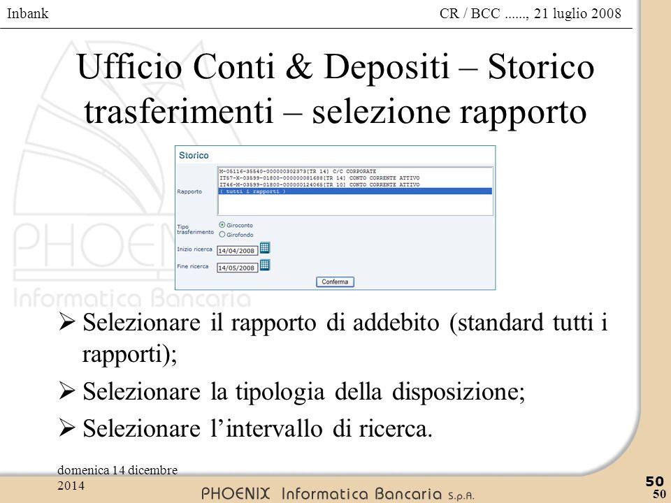 Ufficio Conti & Depositi – Storico trasferimenti – selezione rapporto