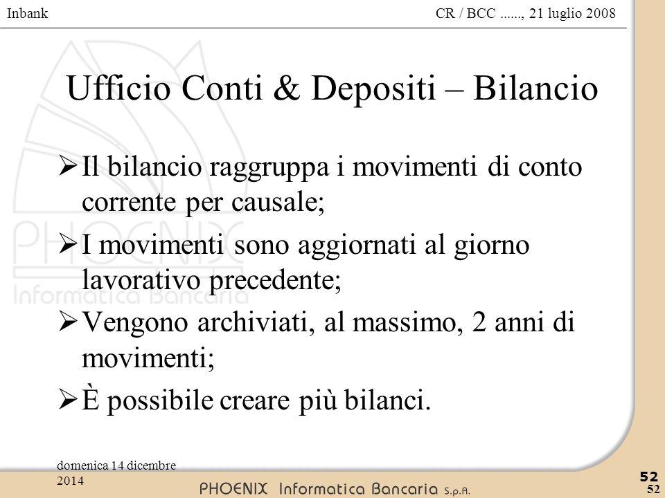 Ufficio Conti & Depositi – Bilancio