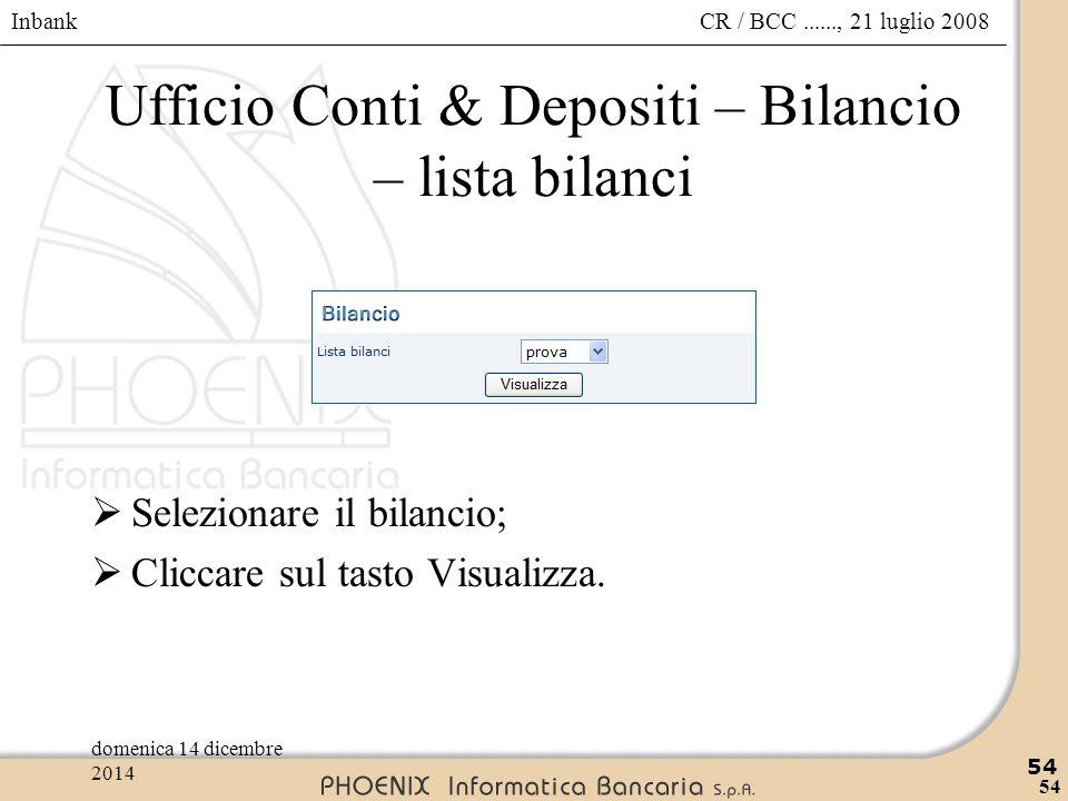 Ufficio Conti & Depositi – Bilancio – lista bilanci