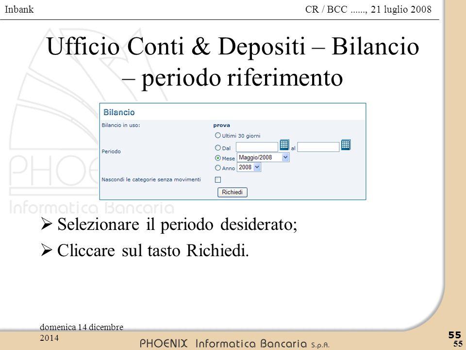 Ufficio Conti & Depositi – Bilancio – periodo riferimento