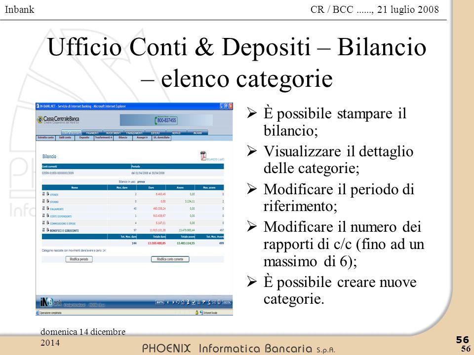 Ufficio Conti & Depositi – Bilancio – elenco categorie