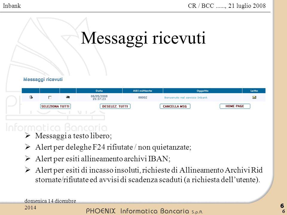 Messaggi ricevuti Messaggi a testo libero;