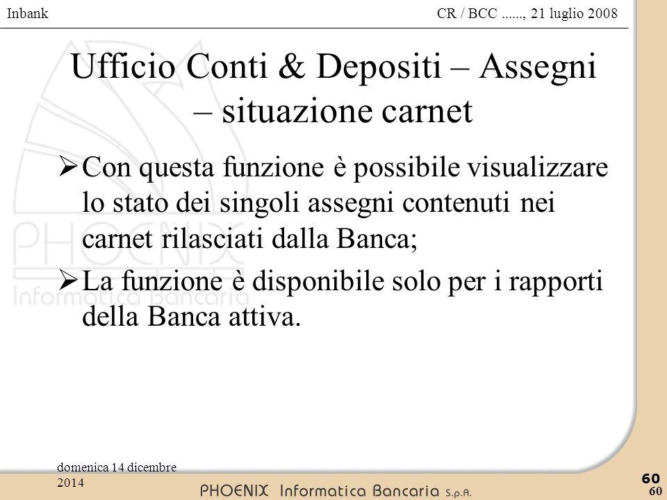Ufficio Conti & Depositi – Assegni – situazione carnet