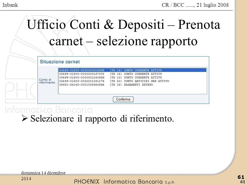 Ufficio Conti & Depositi – Prenota carnet – selezione rapporto