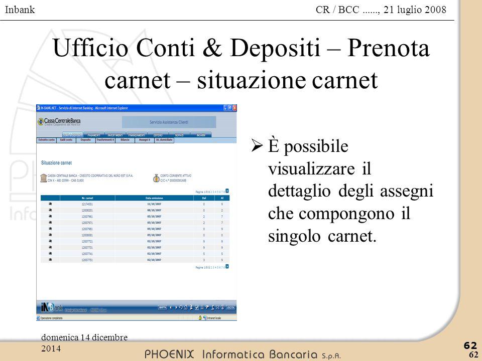 Ufficio Conti & Depositi – Prenota carnet – situazione carnet