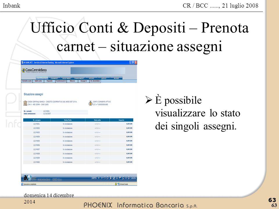Ufficio Conti & Depositi – Prenota carnet – situazione assegni