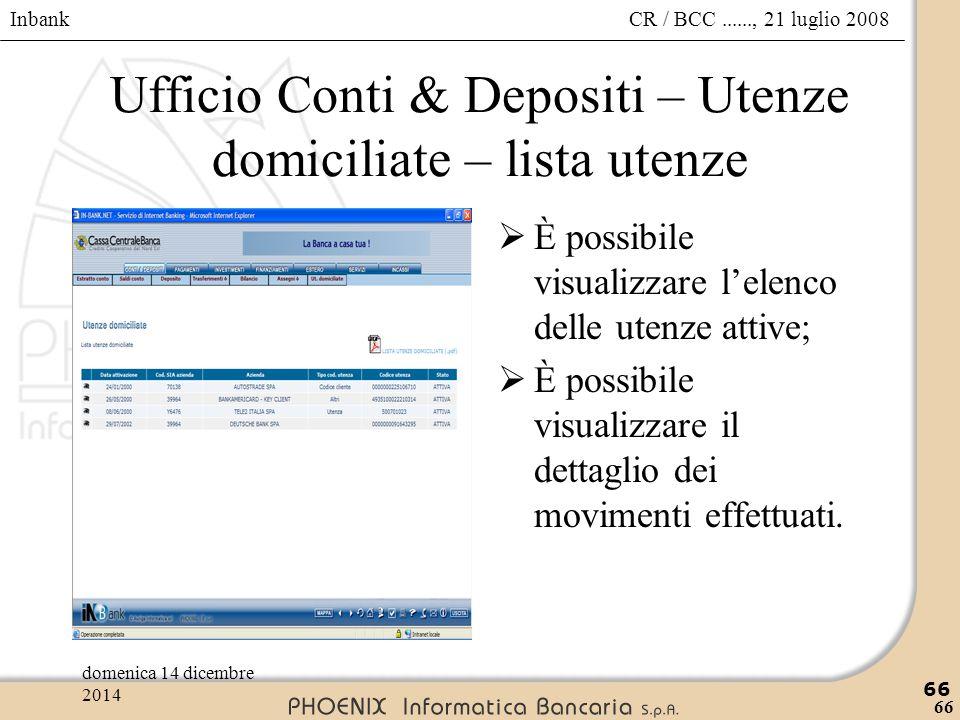 Ufficio Conti & Depositi – Utenze domiciliate – lista utenze