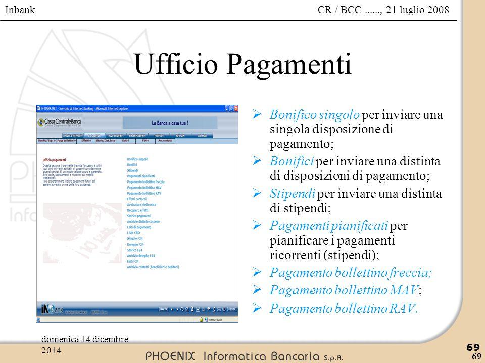 Ufficio Pagamenti Bonifico singolo per inviare una singola disposizione di pagamento;