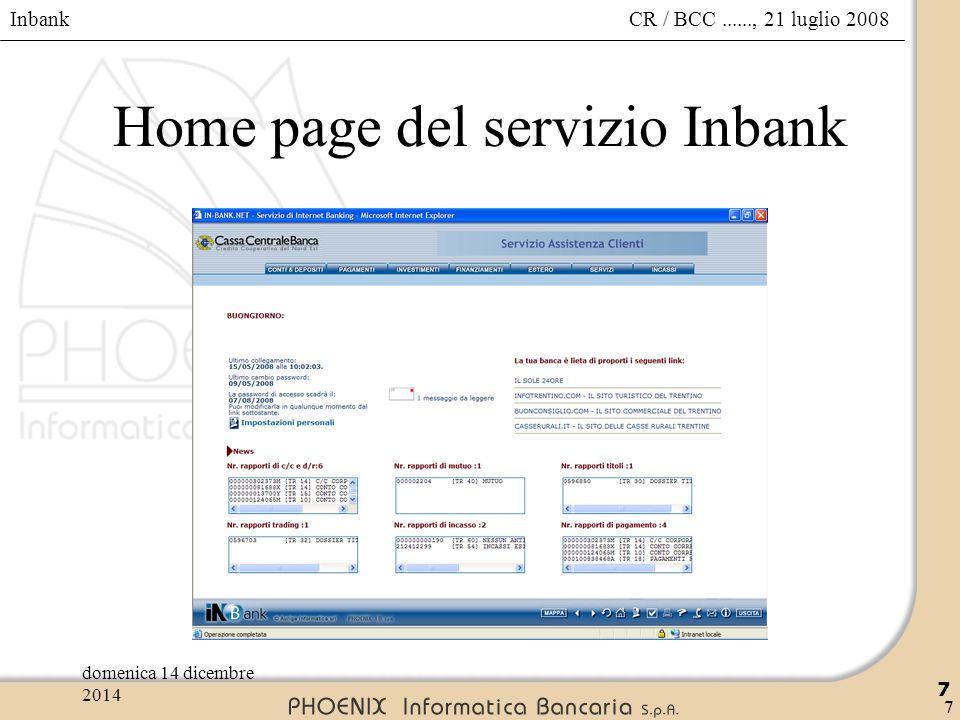 Home page del servizio Inbank