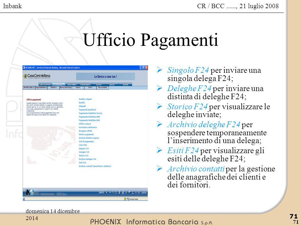Ufficio Pagamenti Singolo F24 per inviare una singola delega F24;