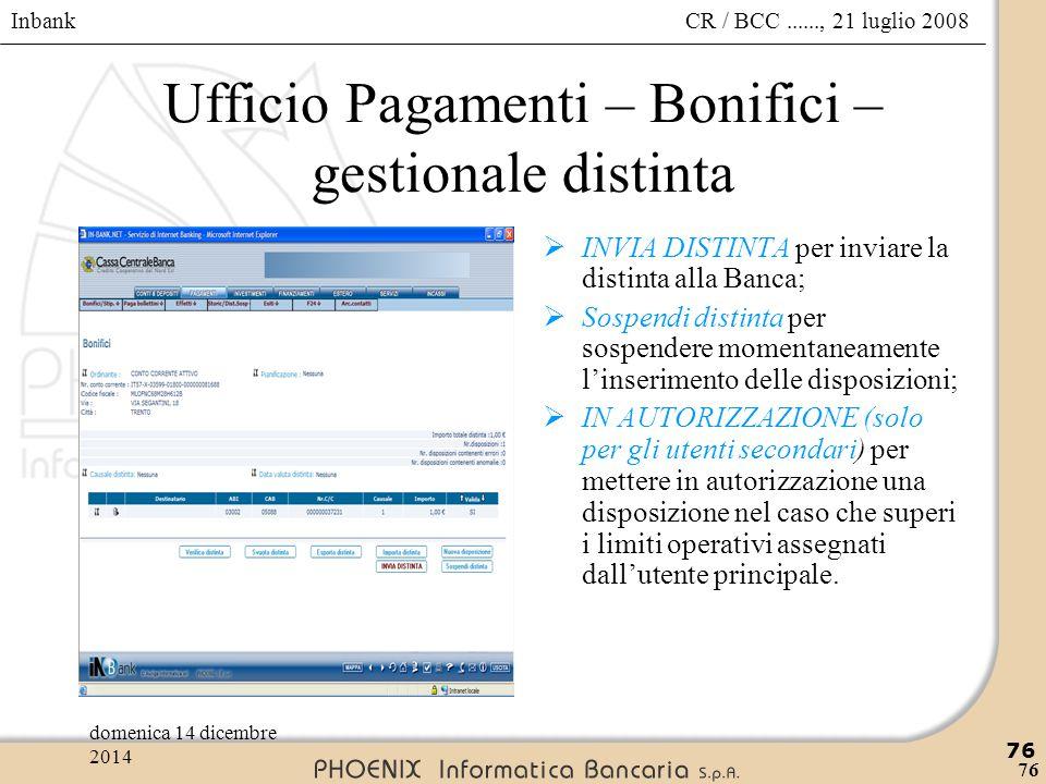 Ufficio Pagamenti – Bonifici – gestionale distinta