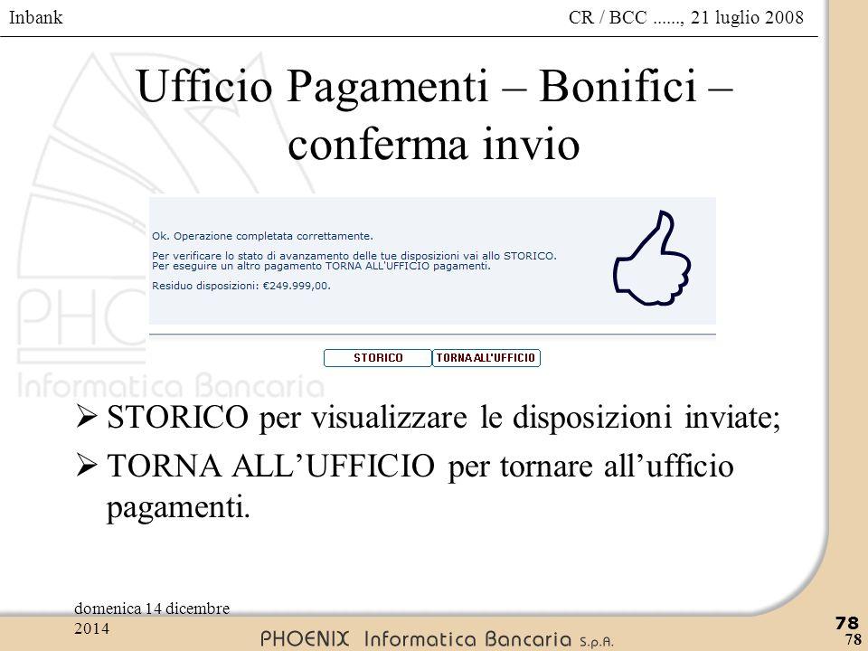 Ufficio Pagamenti – Bonifici – conferma invio