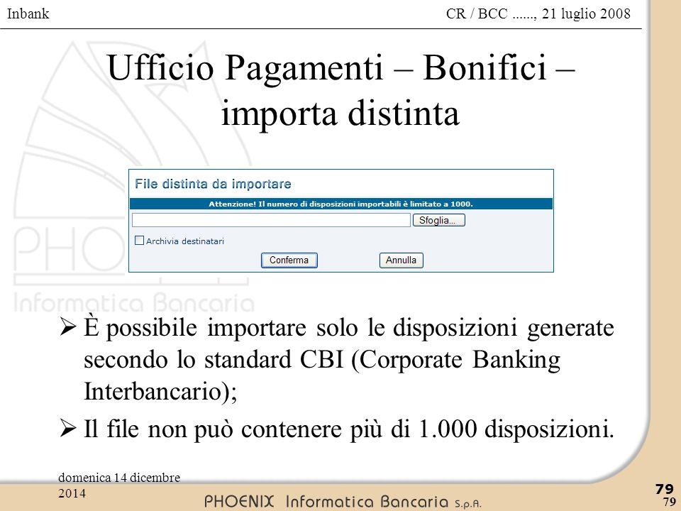 Ufficio Pagamenti – Bonifici – importa distinta