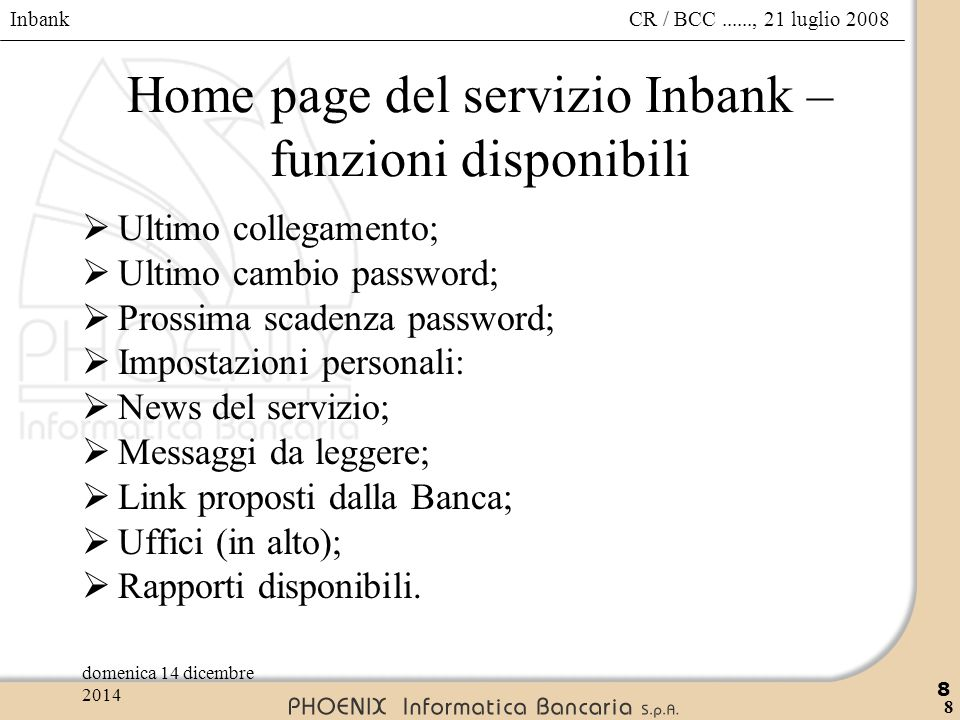 Home page del servizio Inbank – funzioni disponibili