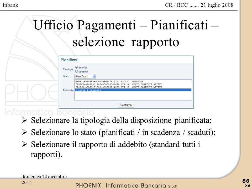 Ufficio Pagamenti – Pianificati – selezione rapporto