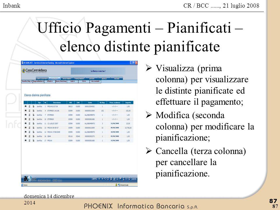 Ufficio Pagamenti – Pianificati – elenco distinte pianificate