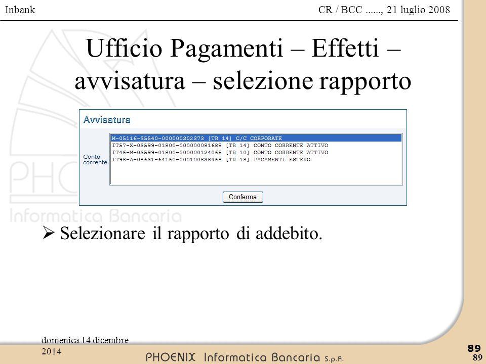 Ufficio Pagamenti – Effetti – avvisatura – selezione rapporto