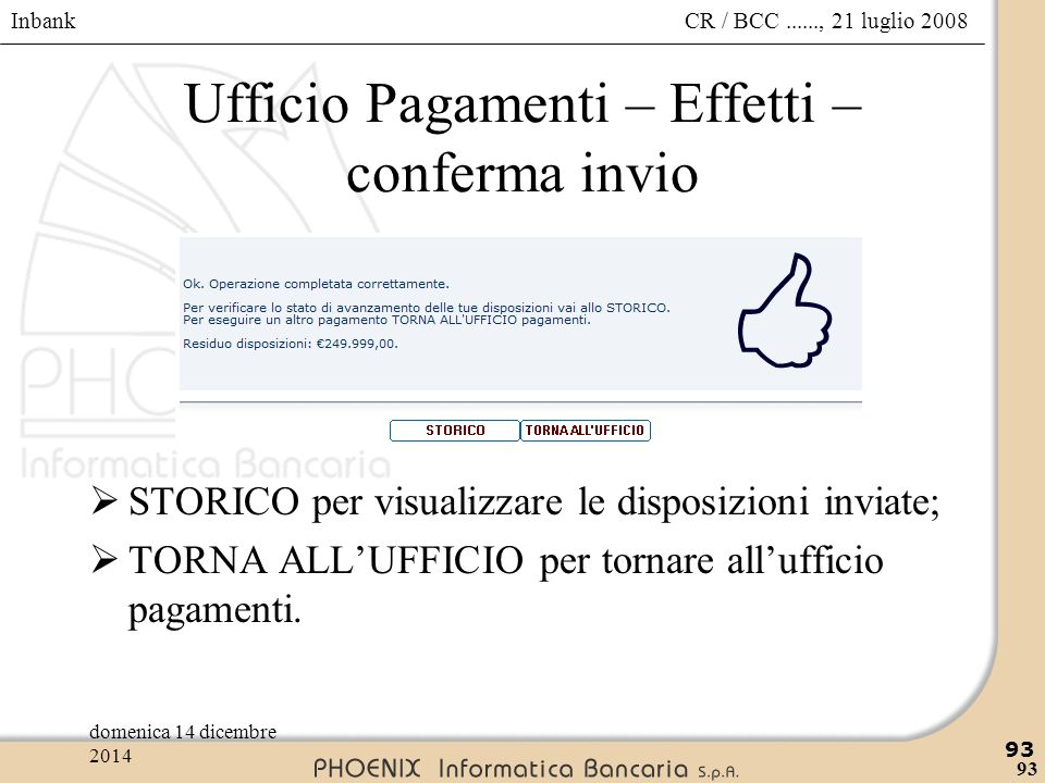 Ufficio Pagamenti – Effetti – conferma invio