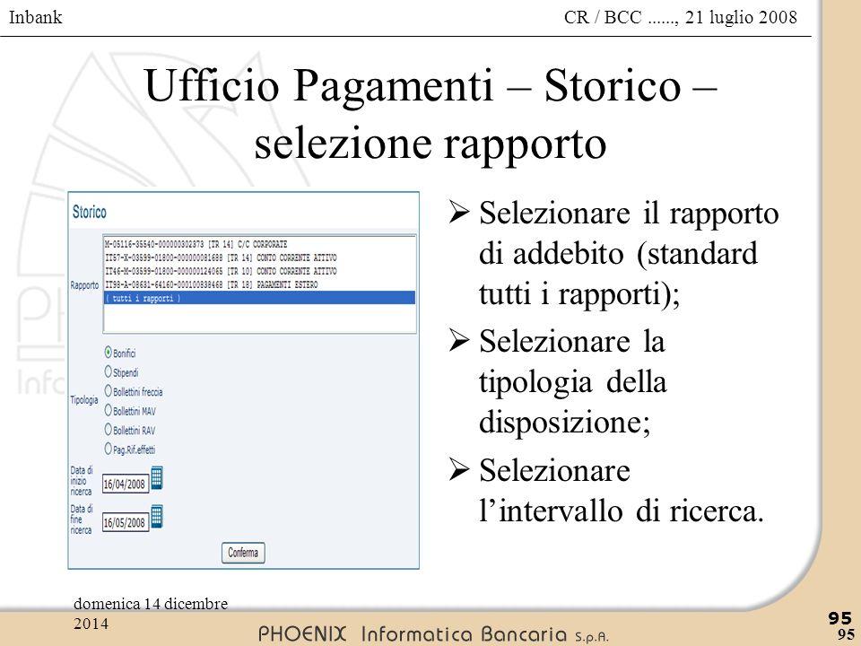Ufficio Pagamenti – Storico – selezione rapporto