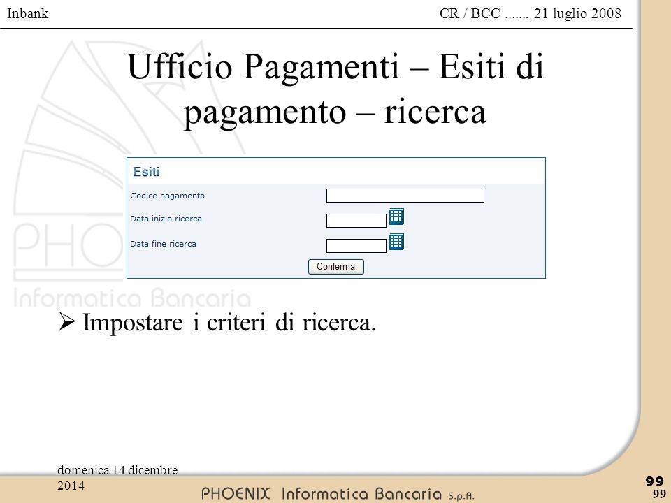 Ufficio Pagamenti – Esiti di pagamento – ricerca