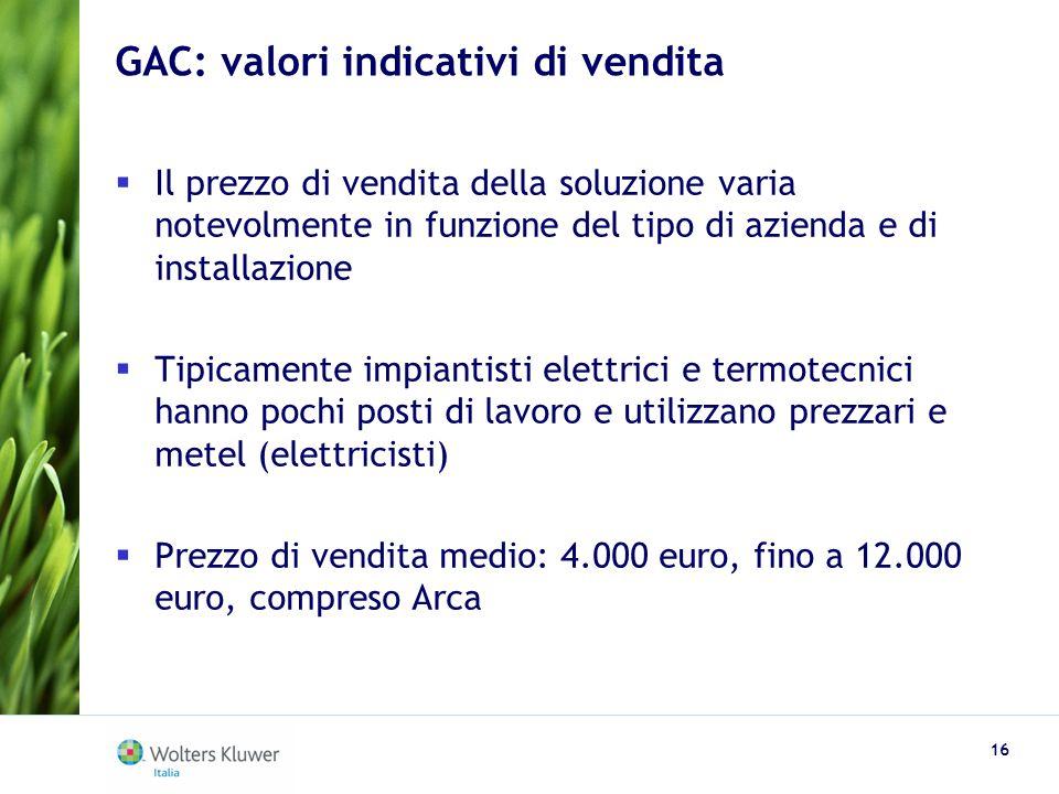 GAC: valori indicativi di vendita