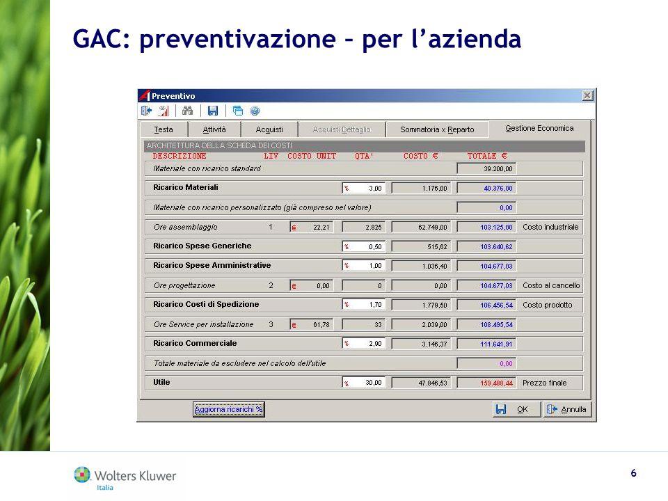 GAC: preventivazione – per l'azienda