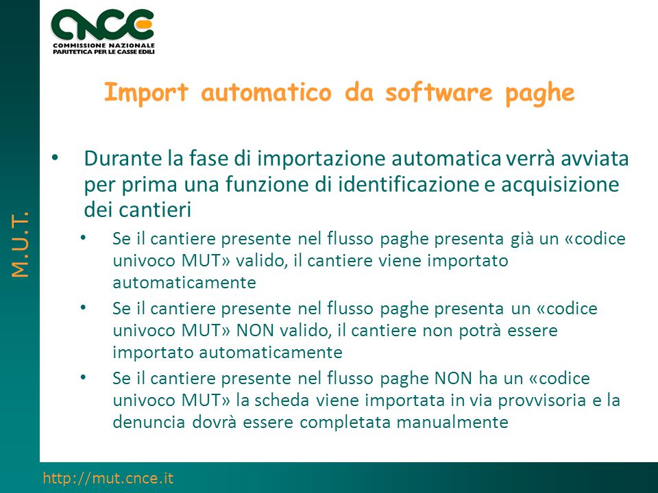 Import automatico da software paghe