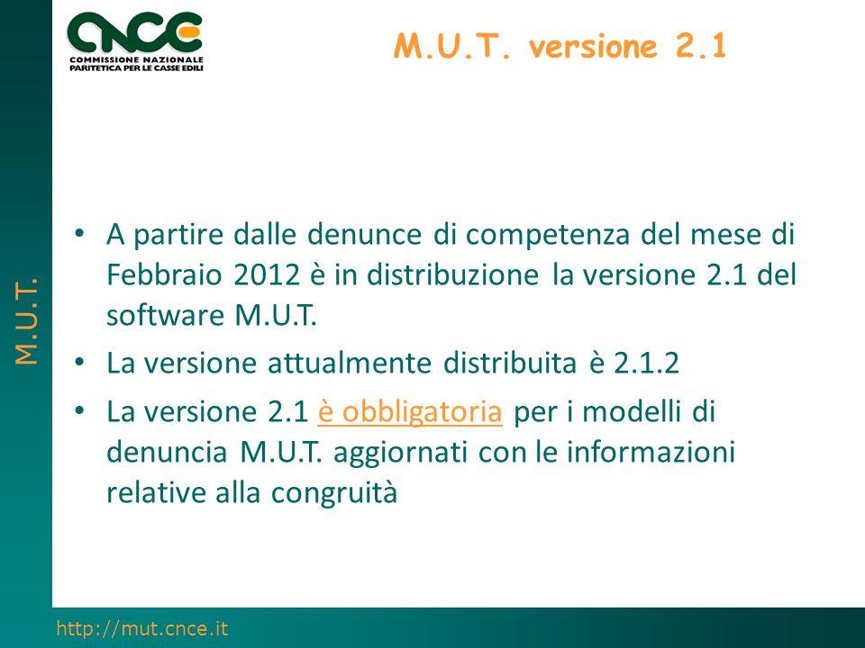 M.U.T. versione 2.1 A partire dalle denunce di competenza del mese di Febbraio 2012 è in distribuzione la versione 2.1 del software M.U.T.