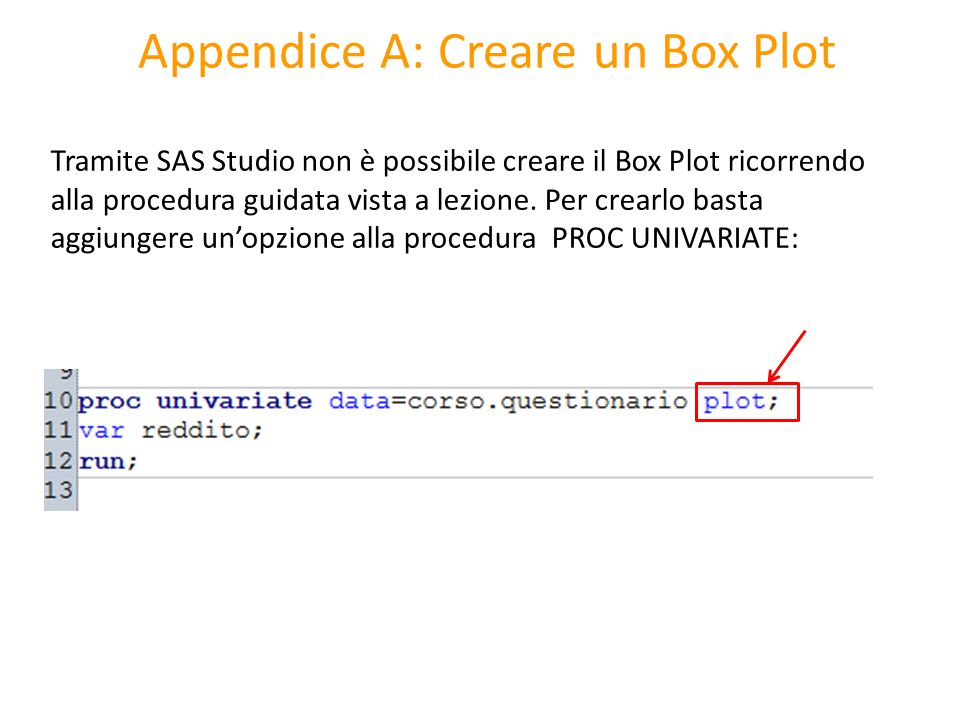 Appendice A: Creare un Box Plot