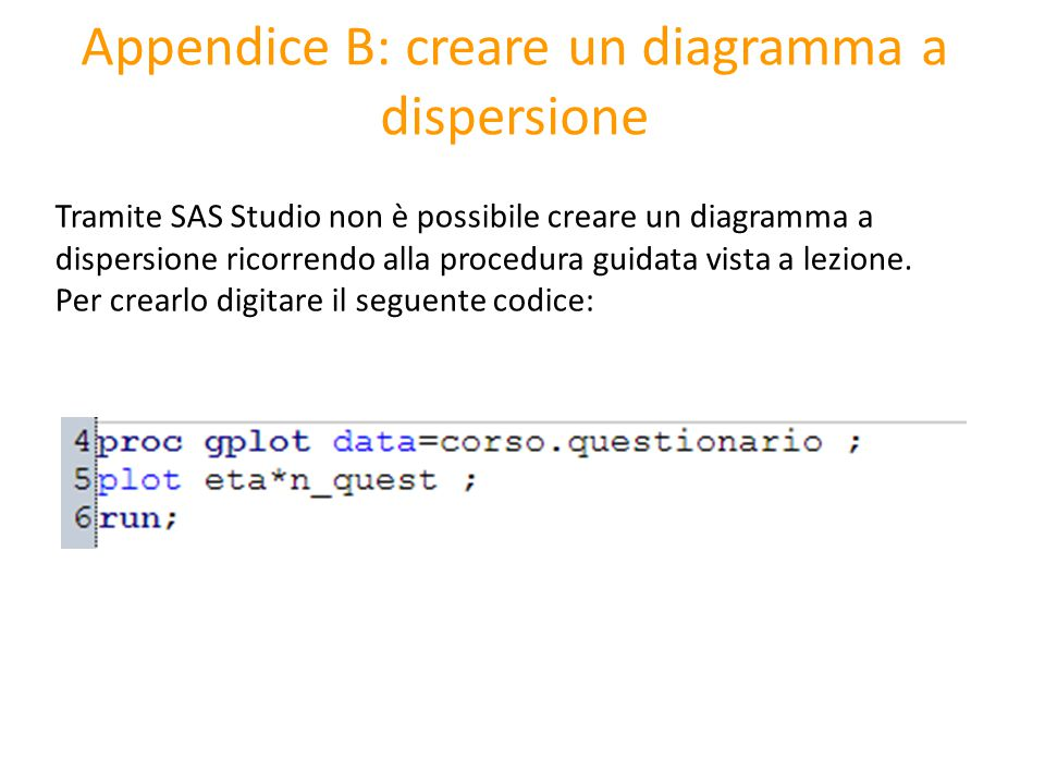 Appendice B: creare un diagramma a dispersione