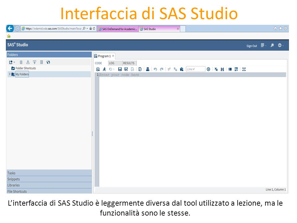 Interfaccia di SAS Studio