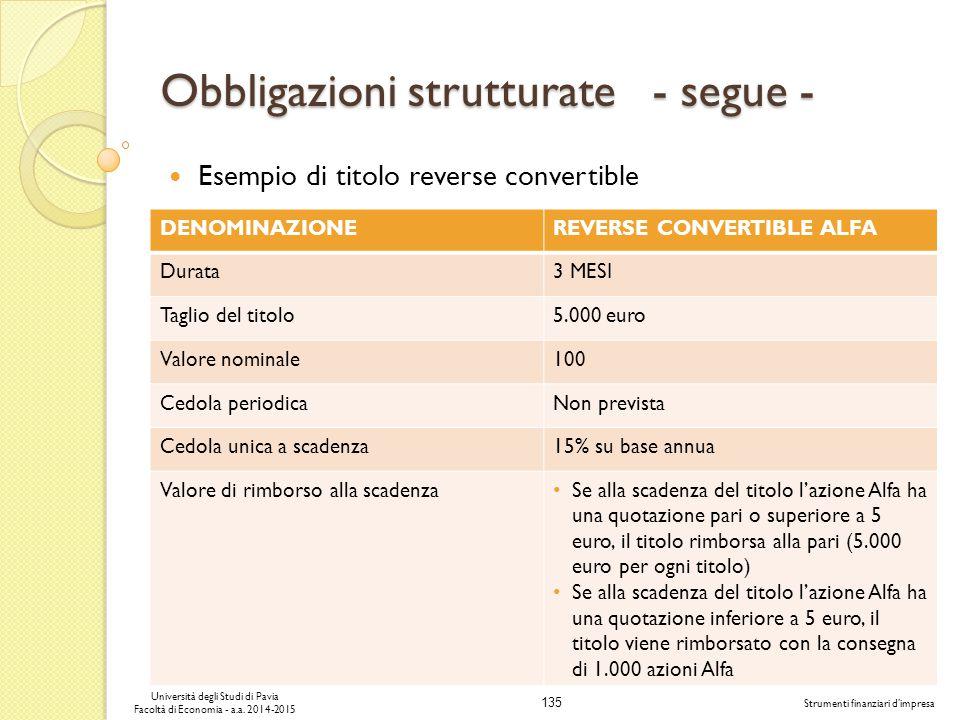 Obbligazioni strutturate - segue -