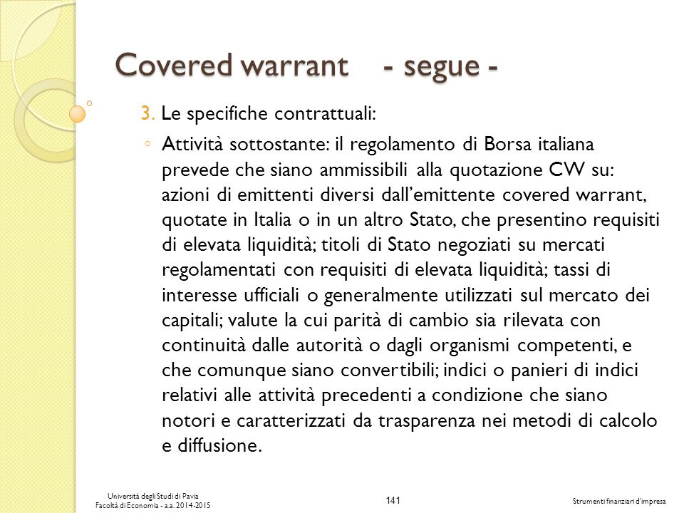 Covered warrant - segue -