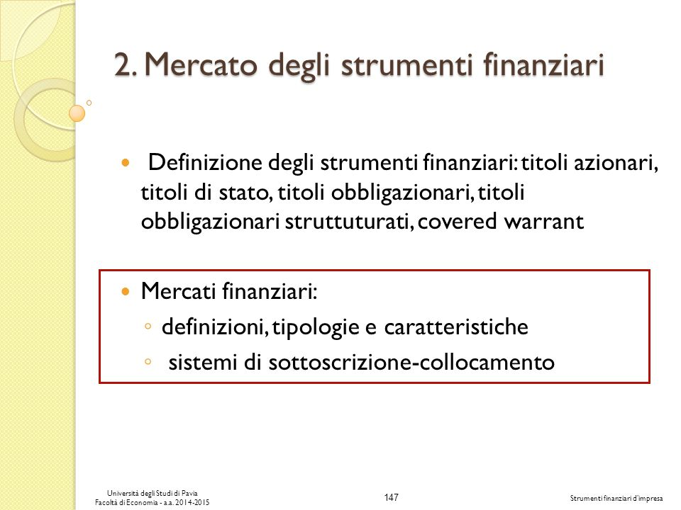 2. Mercato degli strumenti finanziari