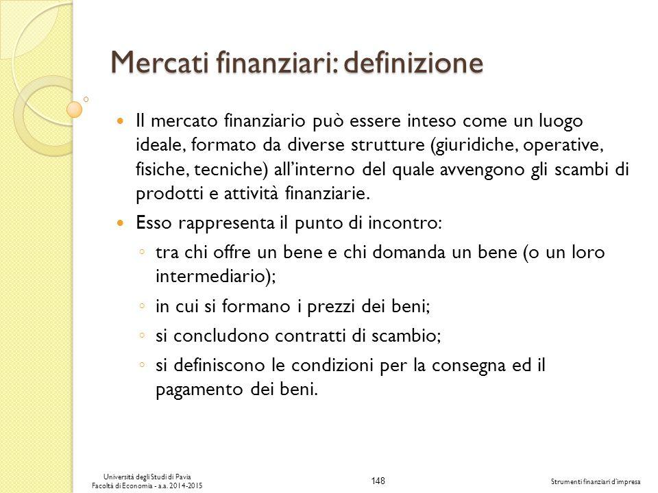 Mercati finanziari: definizione
