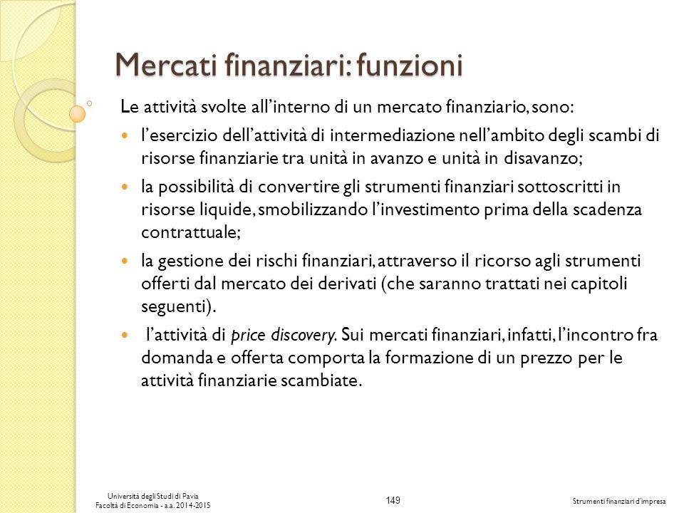 Mercati finanziari: funzioni