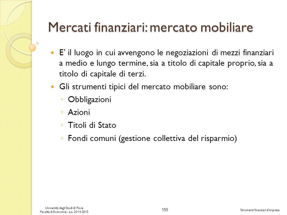 Mercati finanziari: mercato mobiliare