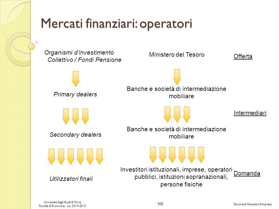 Mercati finanziari: operatori