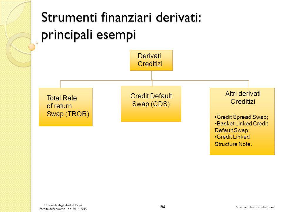 Strumenti finanziari derivati: principali esempi