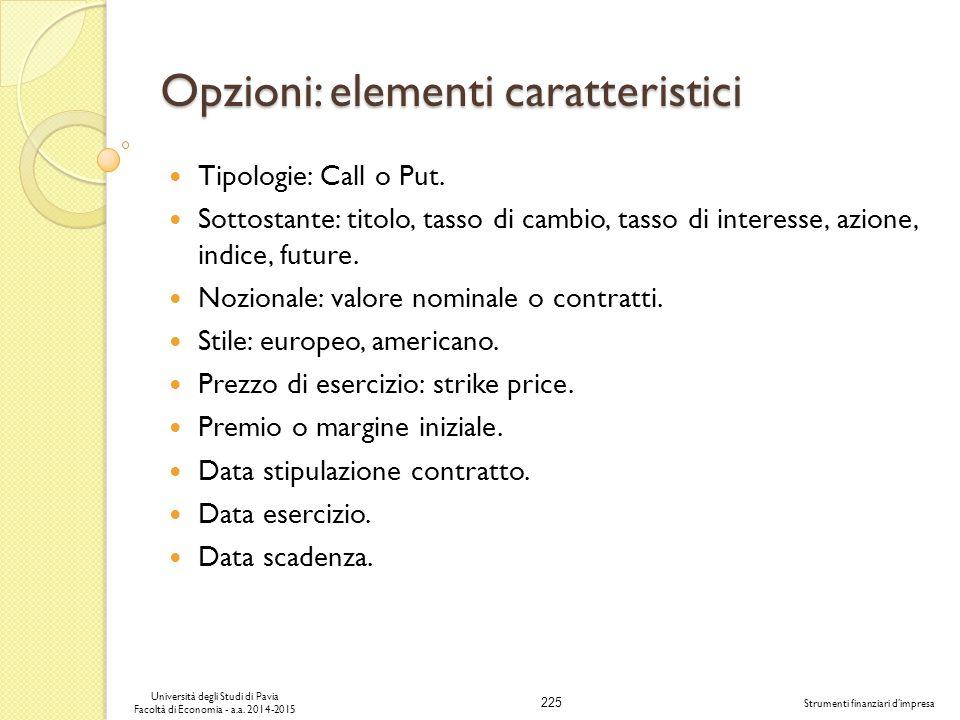 Opzioni: elementi caratteristici
