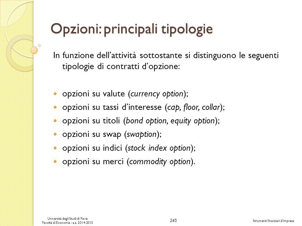 Opzioni: principali tipologie